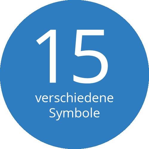 15 verschiedene Symbole