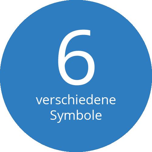 6 verschiedene Symbole