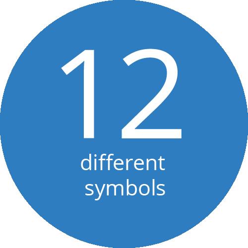 12 verschiedene Symbole